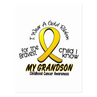 Childhood Cancer I Wear Gold Ribbon For Grandson Postcard