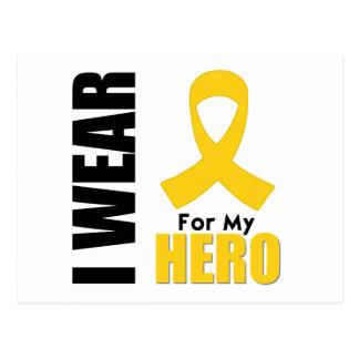 Childhood Cancer I Wear Gold Ribbon For My Hero Postcard