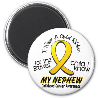 Childhood Cancer I Wear Gold Ribbon For My Nephew 2 Inch Round Magnet