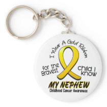 Childhood Cancer I Wear Gold Ribbon For My Nephew Keychain