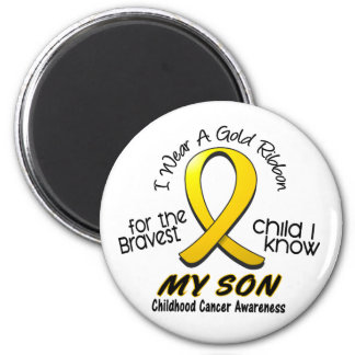 Childhood Cancer I Wear Gold Ribbon For My Son 2 Inch Round Magnet