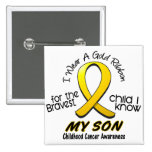 Childhood Cancer I Wear Gold Ribbon For My Son 2 Inch Square Button