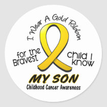 Childhood Cancer I Wear Gold Ribbon For My Son Classic Round Sticker