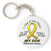 Childhood Cancer I Wear Gold Ribbon For My Son Keychain