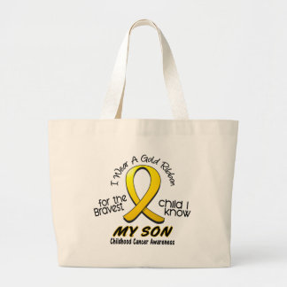 Childhood Cancer I Wear Gold Ribbon For My Son Large Tote Bag