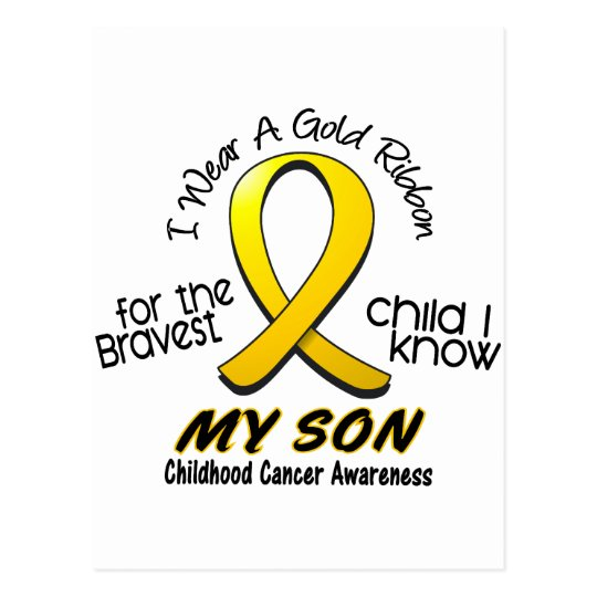 Childhood Cancer I Wear Gold Ribbon For My Son Postcard
