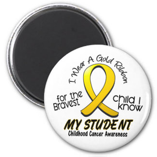 Childhood Cancer I Wear Gold Ribbon For My Student 2 Inch Round Magnet