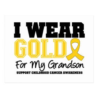 Childhood Cancer I Wear Gold Ribbon Grandson Postcard