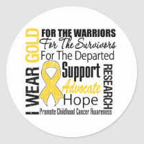 Childhood Cancer I Wear Gold Ribbon TRIBUTE Classic Round Sticker