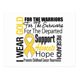 Childhood Cancer I Wear Gold Ribbon TRIBUTE Post Card