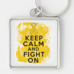 Childhood Cancer Keep Calm and Fight On Keychains