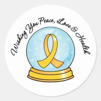 Childhood Cancer Merry Christmas Snowglobe Classic Round Sticker