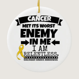 Childhood Cancer Met Its Worst Enemy in Me Ceramic Ornament