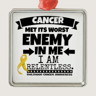 Childhood Cancer Met Its Worst Enemy in Me Metal Ornament
