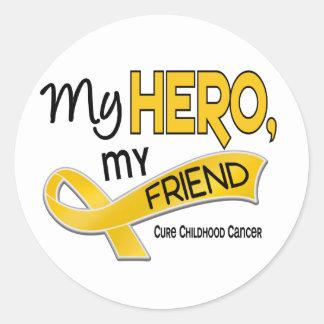 Childhood Cancer MY HERO MY FRIEND 42 Classic Round Sticker