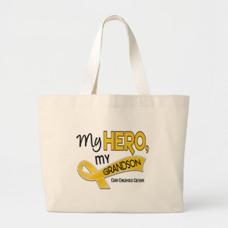 Childhood Cancer MY HERO MY GRANDSON 42 Large Tote Bag