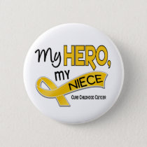 Childhood Cancer MY HERO MY NIECE 42 Pinback Button