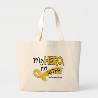 Childhood Cancer MY HERO MY SISTER 42 Large Tote Bag