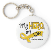 Childhood Cancer MY HERO MY SON 42 Keychain