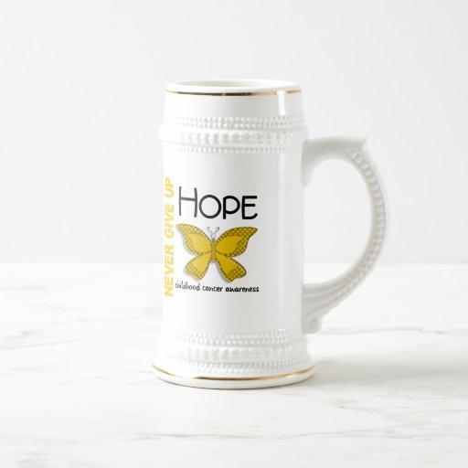 Childhood Cancer Never Give Up Hope Butterfly 4.1 Mug