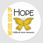Childhood Cancer Never Give Up Hope Butterfly 4.1 Round Stickers