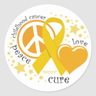 Childhood Cancer Peace Love Cure Classic Round Sticker