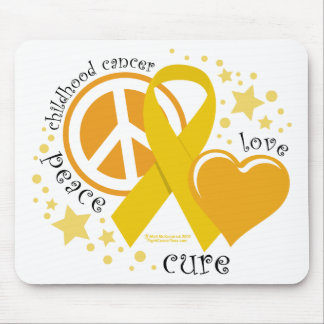 Childhood Cancer Peace Love Cure Mouse Pad