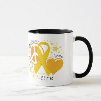 Childhood Cancer Peace Love Cure Mug