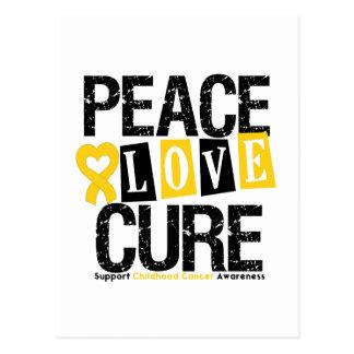 Childhood Cancer Peace Love Cure Postcard