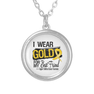 Childhood Cancer Ribbon For My Best Friend Round Pendant Necklace