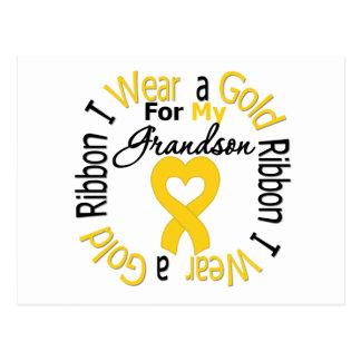 Childhood Cancer Ribbon For My Grandson Postcard