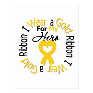 Childhood Cancer Ribbon For My Hero Postcard