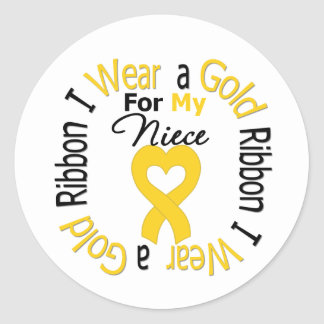 Childhood Cancer Ribbon For My Niece Classic Round Sticker