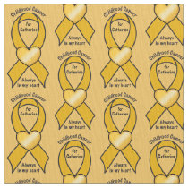 Childhood Cancer Ribbon Heart Name Customizable Fabric