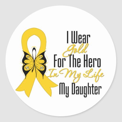 Childhood Cancer Ribbon My Hero My Daughter Classic Round Sticker