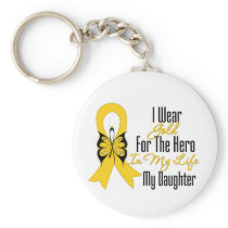 Childhood Cancer Ribbon My Hero My Daughter Keychain