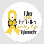 Childhood Cancer Ribbon My Hero My Granddaughter Classic Round Sticker