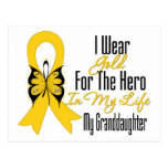 Childhood Cancer Ribbon My Hero My Granddaughter Postcard