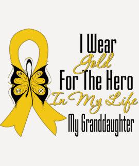 Childhood Cancer Ribbon My Hero My Granddaughter T-Shirt