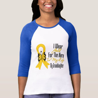 Childhood Cancer Ribbon My Hero My Granddaughter T-Shirt