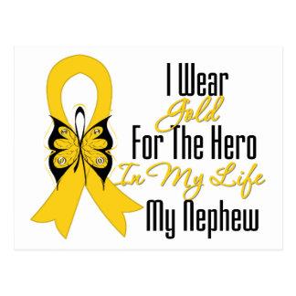 Childhood Cancer Ribbon My Hero My Nephew Postcard