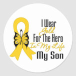 Childhood Cancer Ribbon My Hero My Son Classic Round Sticker