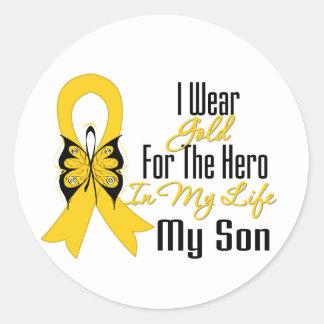Childhood Cancer Ribbon My Hero My Son Round Stickers