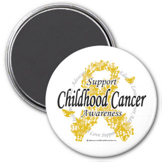 Childhood Cancer Ribbon of Butterflies 3 Inch Round Magnet