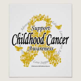 Childhood Cancer Ribbon of Butterflies Poster