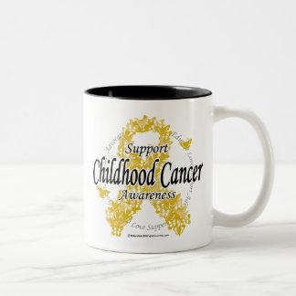 Childhood Cancer Ribbon of Butterflies Two-Tone Coffee Mug