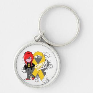 Childhood Cancer Sucks Silver-Colored Round Keychain
