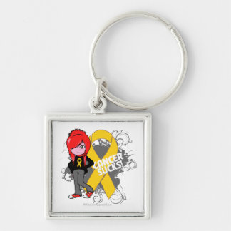 Childhood Cancer Sucks Silver-Colored Square Keychain