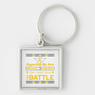Childhood Cancer Supporting My Hero Keychain