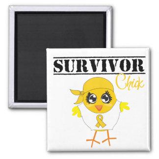 Childhood Cancer Survivor Chick 2 Inch Square Magnet